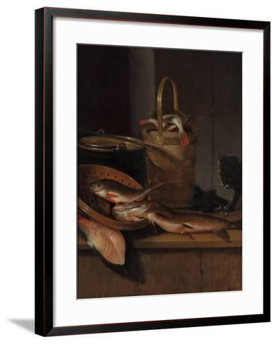 Still Life with Fish and a Cat, C. 1650-1660-Wallerant Vaillant-Framed Art Print
