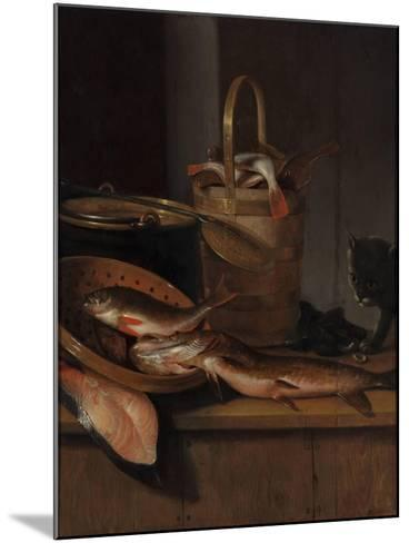 Still Life with Fish and a Cat, C. 1650-1660-Wallerant Vaillant-Mounted Giclee Print