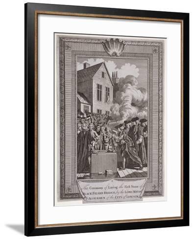 Laying the First Stone of Blackfriars Bridge, London, 1760--Framed Art Print