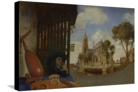 A View of Delft, with a Musical Instrument Seller's Stall, 1652-Carel Fabritius-Stretched Canvas Print