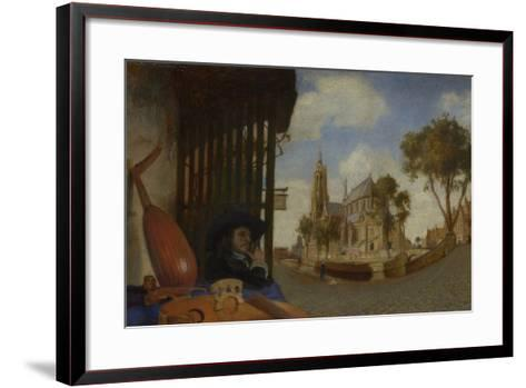 A View of Delft, with a Musical Instrument Seller's Stall, 1652-Carel Fabritius-Framed Art Print