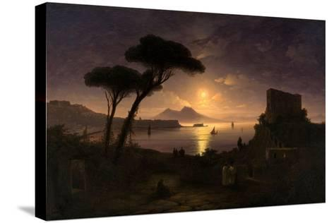 The Bay of Naples at Moonlit Night, 1842-Ivan Konstantinovich Aivazovsky-Stretched Canvas Print