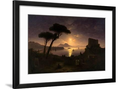The Bay of Naples at Moonlit Night, 1842-Ivan Konstantinovich Aivazovsky-Framed Art Print