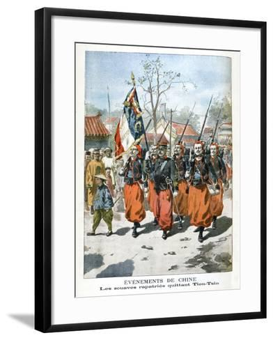 Events in China, French Troops Departing Tien-Tsin, 1901--Framed Art Print