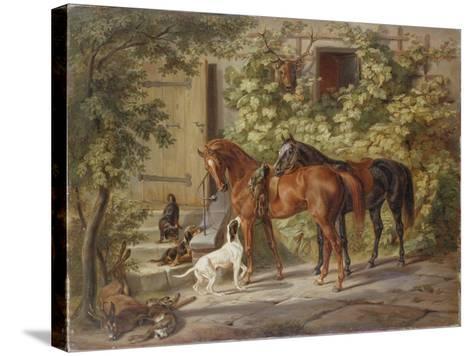 Horses at the Porch, 1843-Albrecht Adam-Stretched Canvas Print
