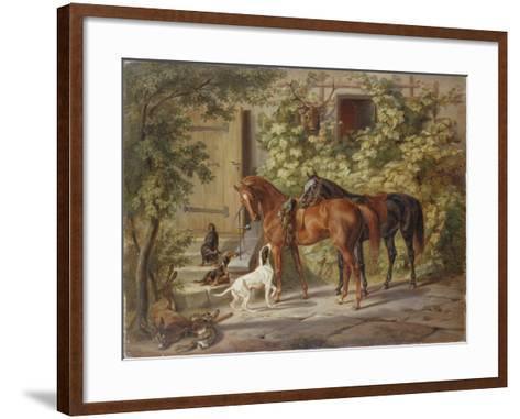 Horses at the Porch, 1843-Albrecht Adam-Framed Art Print