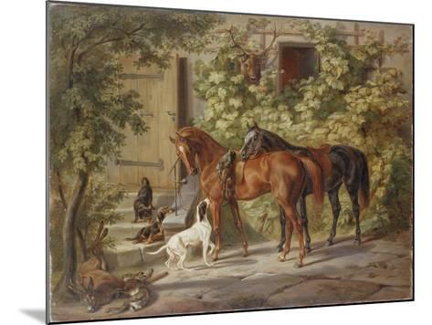 Horses at the Porch, 1843-Albrecht Adam-Mounted Giclee Print