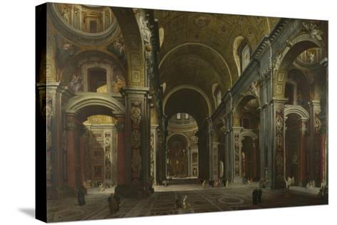 Interior of the Basilica of Saint Peter in Rome, before 1742-Giovanni Paolo Panini-Stretched Canvas Print
