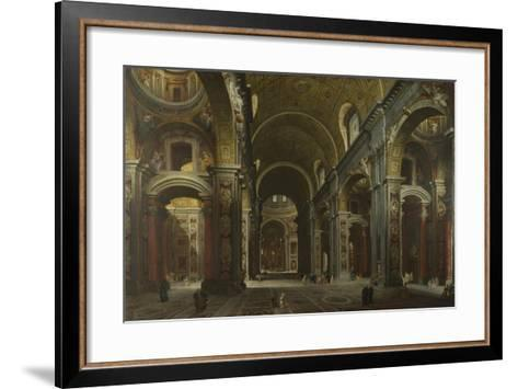 Interior of the Basilica of Saint Peter in Rome, before 1742-Giovanni Paolo Panini-Framed Art Print