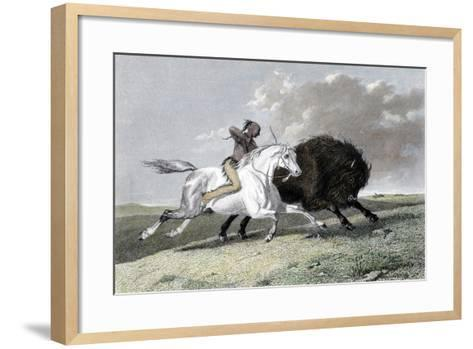 North American Indian Hunting Buffalo, 1861--Framed Art Print