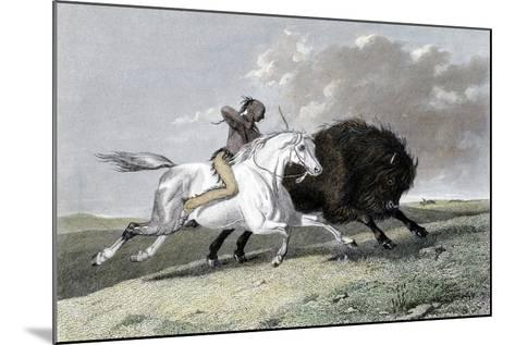 North American Indian Hunting Buffalo, 1861--Mounted Giclee Print