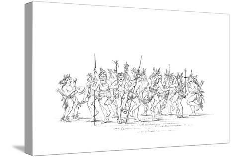 The Sioux Tribe Performing a Beggar Dance, 1841-Myers and Co-Stretched Canvas Print