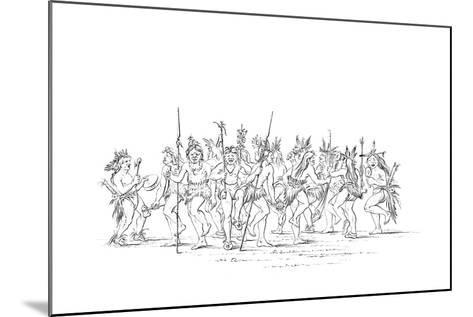 The Sioux Tribe Performing a Beggar Dance, 1841-Myers and Co-Mounted Giclee Print
