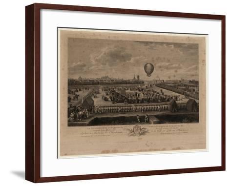 The Balloon of Jean-Pierre Blanchard Ascending from Lille on August 26, 1785-Louis Watteau-Framed Art Print