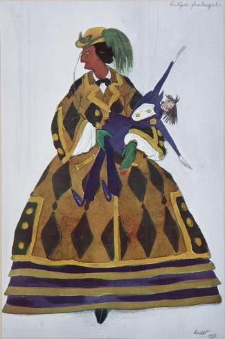 Englishwoman. Costume Design for the Ballet the Magic Toy Shop by G. Rossini, 1919-L?on Bakst-Stretched Canvas Print