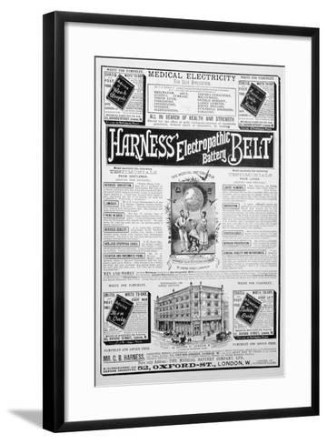 Harness Electropathic Battery Belt Advert, 1893--Framed Art Print