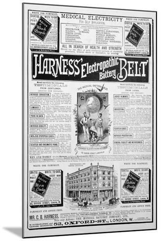 Harness Electropathic Battery Belt Advert, 1893--Mounted Giclee Print