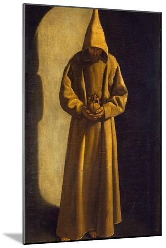 Saint Francis with a Skull in His Hands, C.1630-Francisco de Zurbar?n-Mounted Giclee Print