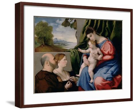 Madonna with Child and Two Donors, 1525-1530-Lorenzo Lotto-Framed Art Print