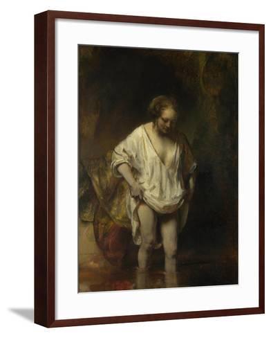 A Woman Bathing in a Stream (Hendrickje Stoffel), 1654-Rembrandt van Rijn-Framed Art Print