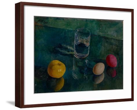 Still Life Against a Green Background, 1924-Kuzma Sergeyevich Petrov-Vodkin-Framed Art Print