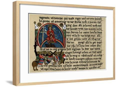 Khosrau II of Persia with Cross and Dove, on His Mechanical Throne--Framed Art Print
