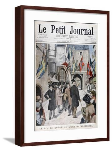King Oscar II of Sweden Visiting Mont Saint-Michel, Normandy, France, 1902--Framed Art Print