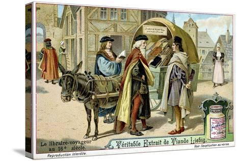 Itinerant 16th Century Bookseller with Covered Donkey Cart Full of Books, Late 19th Century--Stretched Canvas Print