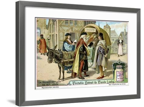 Itinerant 16th Century Bookseller with Covered Donkey Cart Full of Books, Late 19th Century--Framed Art Print