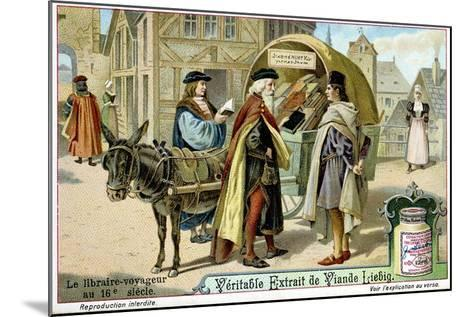 Itinerant 16th Century Bookseller with Covered Donkey Cart Full of Books, Late 19th Century--Mounted Giclee Print