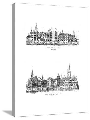 River Facade and Design for Old Paris, 1899-A Robida-Stretched Canvas Print