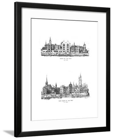 River Facade and Design for Old Paris, 1899-A Robida-Framed Art Print