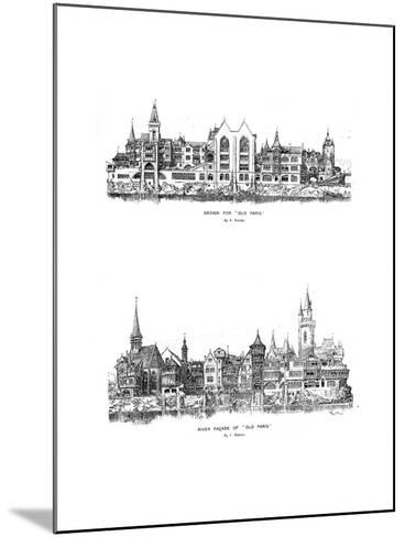 River Facade and Design for Old Paris, 1899-A Robida-Mounted Giclee Print