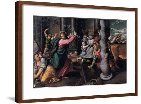 Christ Driving the Money Lenders from the Temple, 1580-1585-Ippolito Scarsellino-Framed Art Print