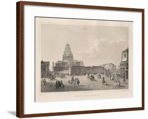 Construction Work in 1838 (From: the Construction of the Saint Isaac's Cathedra), 1845-Auguste de Montferrand-Framed Art Print