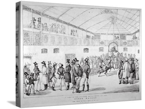 Auction Rooms at Aldridge's Horse Repository, St Martin's Lane, Westminster, London, 1824--Stretched Canvas Print