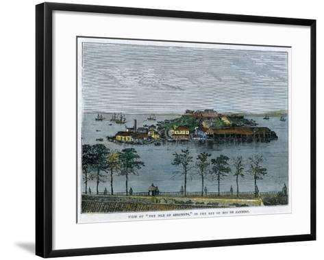View of the Isle of Serpents, in the Bay of Rio De Janeiro, Brazil, C1880--Framed Art Print