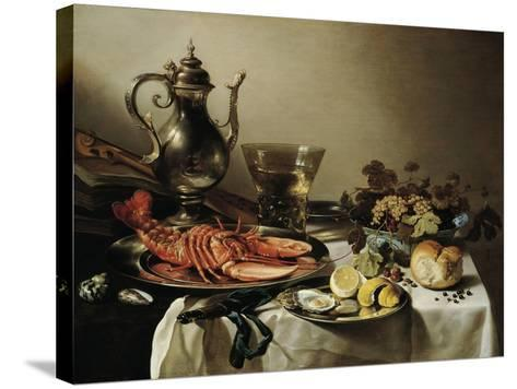 Table with Lobster, Silver Jug, Big Berkemeyer, Fruit Bowl, Violin and Books, 1641-Pieter Claesz-Stretched Canvas Print