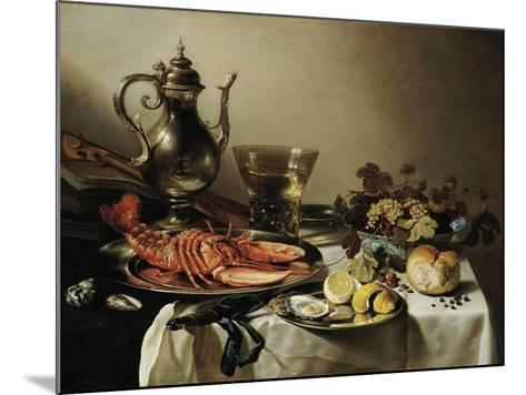 Table with Lobster, Silver Jug, Big Berkemeyer, Fruit Bowl, Violin and Books, 1641-Pieter Claesz-Mounted Giclee Print