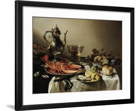 Table with Lobster, Silver Jug, Big Berkemeyer, Fruit Bowl, Violin and Books, 1641-Pieter Claesz-Framed Art Print