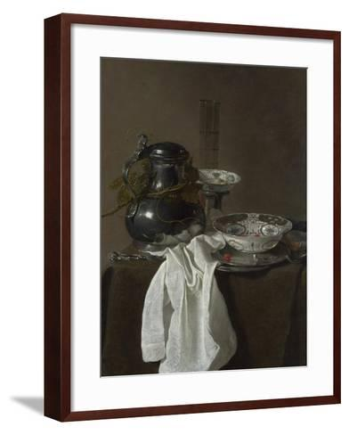 Still Life with a Pewter Flagon and Two Ming Bowls, 1651-Jan Jansz Treck-Framed Art Print