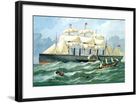 IK Brunel's Steam Ship 'Great Eastern' Showing Housing for Paddle Wheel, and Sails, 1857--Framed Art Print