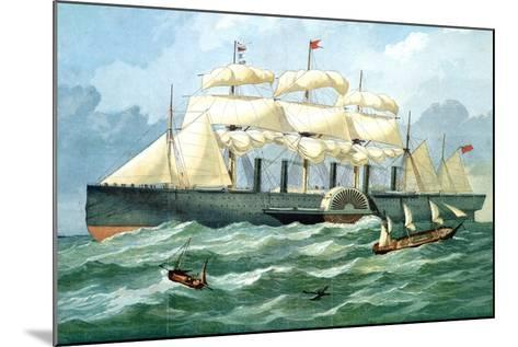 IK Brunel's Steam Ship 'Great Eastern' Showing Housing for Paddle Wheel, and Sails, 1857--Mounted Giclee Print