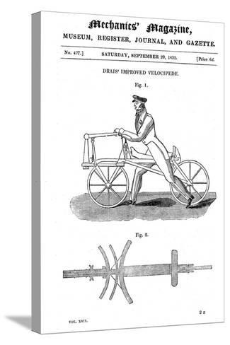 Baron Von Drais's Bicycle (Draisienn), Exhibited Paris 1818-Baron von Drais-Stretched Canvas Print