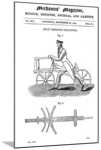 Baron Von Drais's Bicycle (Draisienn), Exhibited Paris 1818-Baron von Drais-Mounted Giclee Print