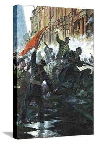 The Storming of the Winter Palace, St Petersburg, Russian Revolution, October 1917--Stretched Canvas Print