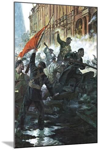 The Storming of the Winter Palace, St Petersburg, Russian Revolution, October 1917--Mounted Giclee Print