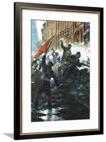 The Storming of the Winter Palace, St Petersburg, Russian Revolution, October 1917--Framed Art Print