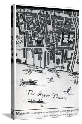 Map of London Featuring Whitefriars, 1682- Morden & Lea-Stretched Canvas Print