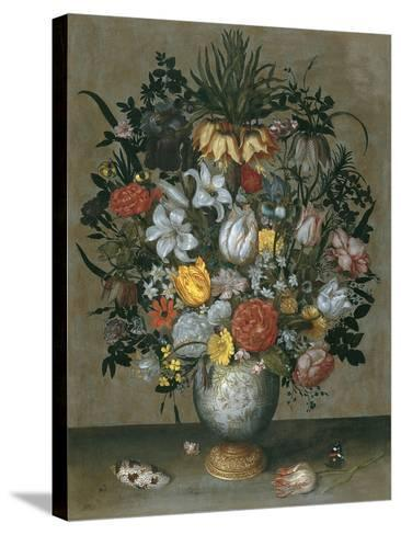 Chinese Vase with Flowers, Shells and Insects-Ambrosius Bosschaert the Elder-Stretched Canvas Print